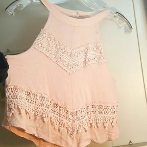 Beautiful blush pink halter neck lace blouse